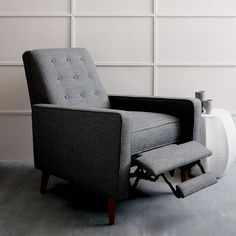 Rhys Mid-Century Recliner, Cotton Basketweave, Granite