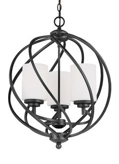 Blacksmith Wrought Iron Curved 3 Light Chandelier