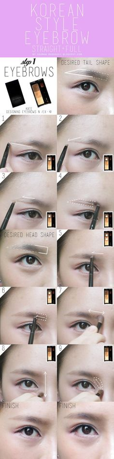 korean style eyebrow tutorial pictorial #Koreanmakeuptutorials #koreaneyemakeup