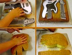 How to make a Guitar Cake - A Slice of Heaven Guitar Birthday Cakes, Guitar Cake, Cake Decorating Techniques, Cake Decorating Tutorials, Fondant Cakes, Cupcake Cakes, Bolo Musical, Fondant Butterfly, Music Cakes
