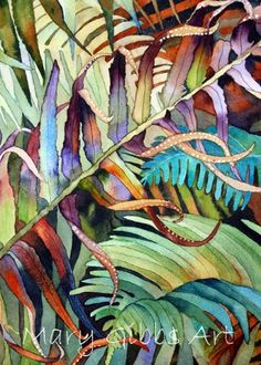 Leaves | Mary Gibbs Art Watercolor Negative Painting, Gouache Painting, Silk Painting, Watercolor Flowers, Watercolor Paintings, Watercolors, Mary Gibbs, Deco Jungle, Painted Leaves