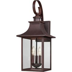 $197 This outdoor lantern gives you the historic look of lighting from the 19th Century. Featuring a copper bronze finish, this lovely light will adorn your home with its charming style and truly unique appearance.