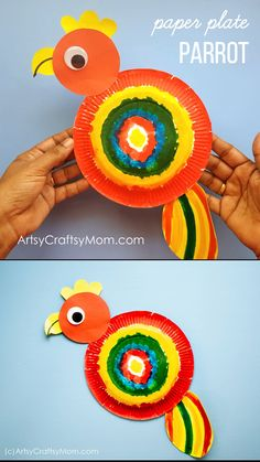 This Paper Plate Parrot Craft is the perfect project for a rainforest or bird unit at home or at school for Preschoolers. Dot Marker Art for kids Toddler Crafts, Preschool Crafts, Fun Crafts, Etsy Crafts, Animal Crafts Kids, Craft Activities, Paper Plate Crafts, Paper Plates, Paper Plate Art