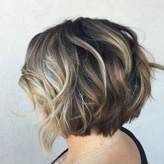 short layered brown bob with blonde balayage, I even love the color