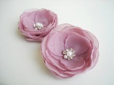 Dusky Pink Flower Hair Clips Duo Bridal Flower by GlamFloralBride