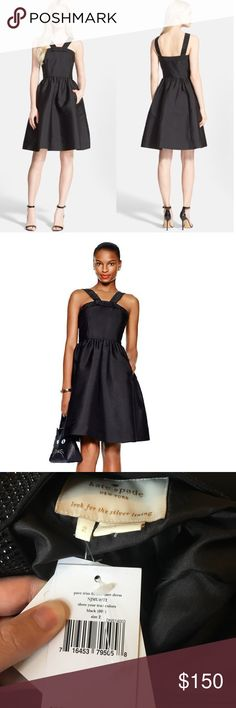 Kate Spade Cocktail Dress Beautiful new Kate Spade black formal dress with rhinestone detail. Side zipper. Cute bow and pockets!!! kate spade Dresses