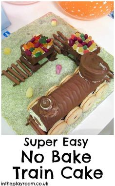 Super Easy No Bake Train Cake For Kids Parties - FESTE - kuchen kindergeburtstag Cake Wallpaper, Coconut Recipes, Cakes For Boys, Cake Kids, Vegan Cake, Food Humor, Cakes And More, How To Make Cake, Amazing Cakes