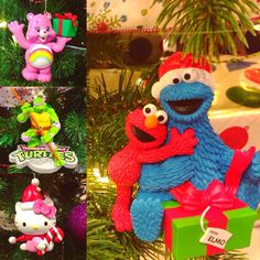 Add a magical touch to your #christmastree with these #Ornaments  #carebears #tmnt #hellokitty #elmo #cookiemonster