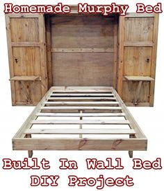Bed room Homemade Murphy Bed Built In Wall Bed DIY Project - Homesteading - Tiny House Furniture Car Build A Murphy Bed, Murphy Bed Desk, Murphy Bed Plans, Murphy Bed Frame, Tiny House Furniture, Home Furniture, Bedroom Furniture, Murphy Furniture, Painted Furniture