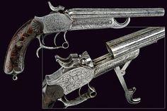 A double-barrelled breech-loading center-fire pistol by Broqua & Scholberg, ca 19th century.