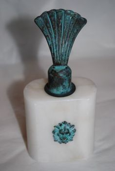 Vintage Alabaster Perfume Bottle Made In Italy,  Very Rare