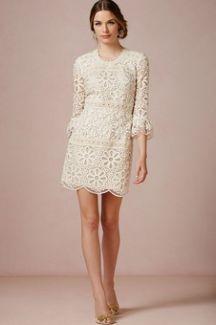 60s Style Wedding Dress Boho Chic White Lace Short Bride