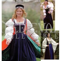 Robe du Soir Gown Inner Gown Only VL-SOIR - Buy from By The Sword.This Flemish, early century Robe du Soir Gown can be worn three different ways: The chemise and inner gown, chemise and outer gown, or the chemise with inner and outer gowns. Scottish Clothing, Celtic Clothing, Historical Costume, Historical Clothing, Plus Size Costume, Queen Costume, Costume Dress, Retro Mode, Renaissance Clothing