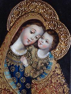 MARÍA Y EL NIÑO.                                      Obra en óleo (alto grado de pigmentación)                                     Venta:  almuarce2002@gmail.com