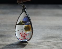 Terrarium necklace pressed flower necklace by IskraCreations