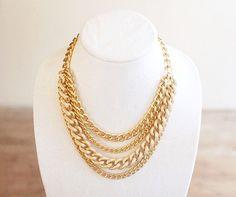 Multi Strand Gold Chain Statement Necklace - Chunky Gold Bib Necklace