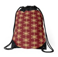 'Golden Glitter Sparkle Snowflake on Christmas Cranberry Red' Throw Pillow by podartist Custom Drawstring Bags, Drawstring Backpack, Red Throw Pillows, Designer Throw Pillows, Golden Glitter, Red S, Red Christmas, Iphone Wallet, Pillow Design