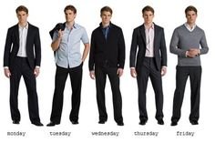 Ideas for weekly outfits in the workplace. Monday and Thursday are great for professional interviews. Business Fashion, Mens Office Fashion, Men's Fashion, Mens Fashion Suits, Business Style, Fashion Styles, Business Men, Business Formal, Fashion Vintage