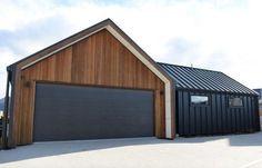 queenstown builder, architectural home nz, cedar, gable, wing walls, garage
