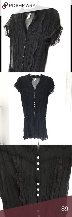 Long black lace button up blouse Beautiful lace detail on front and sleeves.   Tie at waist.  Small delicate buttons down front. Gently used. Tops Blouses