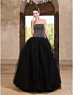 Prom/Formal Evening/Quinceanera/Sweet 16 Dress Princess/A-line/Ball Gown Strapless Floor-length Satin/Tulle Dress