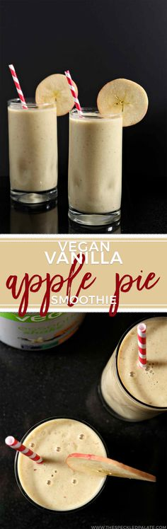 Get your day off to a nutritious start by making a delicious Vegan Vanilla Apple Pie Smoothie with Vega Essentials. Naturally sweet and creamy, this breakfast smoothie goes down easily and packs a nutritious punch! Nutritious Smoothies, Protein Smoothie Recipes, Breakfast Smoothie Recipes, Eat Breakfast, Fruit Smoothies, Brunch Recipes, Vegan Smoothies, Apple Pie Smoothie, Juice Smoothie
