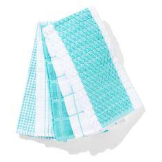 Terry Tea Towels - Aqua, Pack of 5 | Kmart