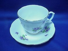 Royal stuart cup and #saucer spencer stevenson bone #china england #violet white,  View more on the LINK: http://www.zeppy.io/product/gb/2/111815589965/