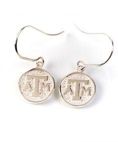 Texas A&M Kitty Keller Sterling Silver Disc Charm Earrings