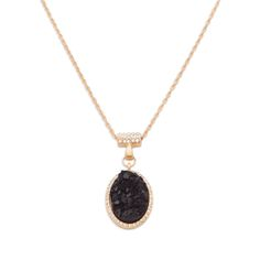 """Do it up in druzy with the Malia pendant necklace. Malia is the embodiment of """"nature's glitter."""" Clear CZ's add a little extra sparkle to this already stunning vision in black and gold.   Find it on Splendor Designs"""