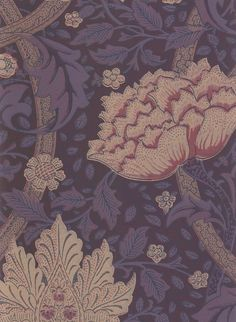 Windrush Wallpaper A William Morris classic cream and burgundy on plum floral design wallpaper