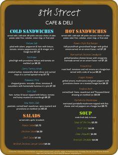 deli menu templates