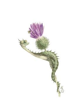Thistle Dragon Watercolor Art Print limited by MariSkullerud, kr150.00