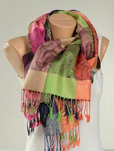 Pink Orange Green Blue Scarf Wrap . Women Shawl by scarfstore2012
