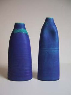 "Flat Blue Vessels - height 30cm  Thrown and altered porcelain forms. ""Persian Blue"" barium glaze. By Emily Myers"