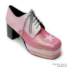 @Jennifer Milsaps L Henigin Housh Duo Pink Glitter Glam 70s Platform Shoes