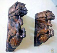 Wooden Elephant Wall Corbel Pair Wooden Bracket Handmade Statue Sculpture Decor Ebay In 2020 Wooden Brackets Vintage Statues Corbels