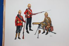 Uniforms of the King's Own Scottish Borderers 25th Regiment of Foot. 1. Sergeant Peshawar Field Force 1879. 2. Soldier Suakim Field Force 1888. 3. Soldier Chitral Relief Force 1895. Water colours by Hiram Dunn.