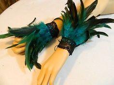 Federarmbänder Cuffs Manschetten Türkis Pfau Kostüm Tribal Burlesque Tanz in Kleidung & Accessoires | eBay