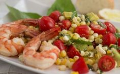 Fresh Corn, Tomato and Avocado Salad with Shrimp I could eat this salad every day during the summer! From Aviva Goldfarb, The Six O'Clock Scramble
