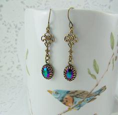 Green Iris Earrings, Iridescent Earrings, Peacock Glass Earrings, Bezel Set Earrings, Oval Glass Earrings, Green Iris Glass, Faceted Glass by CreatedinTheWoods on Etsy