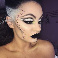 Bride of Frankenstein Halloween makeup look #halloween #october #halloweenmakeup #brideoffrankenstein #cutcrease #makeup