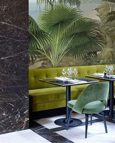 Today's inspiration: the mix of greens in this Paris restaurant designed by Joseph Dirand (via @randi_mageli) // #green #decor #interiors #interiordesign #restaurantdesign #parisdesign #designideas #colorideas #colorinspo #colorinspiration #designanddecoration #greens #greenery #colormixing #colormix #josephdirand #designideas #walllpaper #wallpaperideas #wallcovering #tropical #palms #tropicalprint