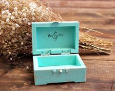 mint blue wedding ring bearer box . personalize color wedding heart keepsake box . rustic distressed wooden wedding box . ring bearer box