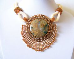 Statement Beadwork Bead Embroidery Pendant Necklace with Bamboo Agate - AMBER WHISPER - Fall Fashion - Creamy - brown