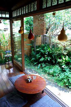 Japanese garden, outside inside Japanese Architecture, Interior Architecture, Interior And Exterior, Interior Design, Pavilion Architecture, Sustainable Architecture, Residential Architecture, Contemporary Architecture, Japanese Style House