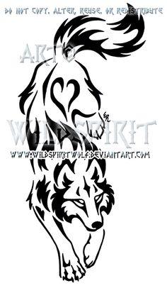 Yin Yang Set Descending Tribal Wolf Design by WildSpiritWolf on DeviantArt Tribal Animal Tattoos, Tribal Drawings, Tribal Wolf Tattoo, Tribal Animals, Tribal Sleeve Tattoos, Wolf Tattoos, Tribal Art, Body Art Tattoos, Tattoo Drawings