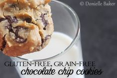 These gluten-free, grain-free chocolate chip cookies taste kind of like raw cookie dough - soft and gooey! (and mostly refined sugar free to boot!)