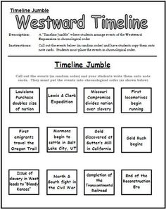 Western a Expansion Timeline Jumble Worksheet: This would be a quick review activity for students after learning the overall base of Westward Expansion. Students have to put the events in order by which they occurred.