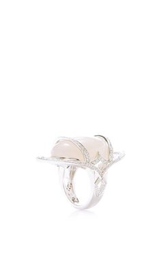 Warrior Ring by Deborah Pagani for Preorder on Moda Operandi  18k White gold Diamonds, Cabochon grey moonstone, 3.1 tcw Made in USA